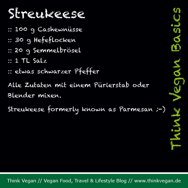Think Vegan Basics: Streukeese formerly known as Parmesan ;-)