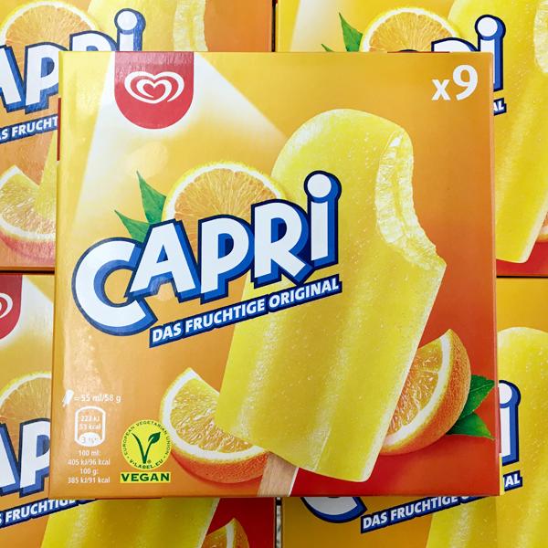 Capri Orangen-Fruchteis Vegan - 9er Pack und Einzelpack
