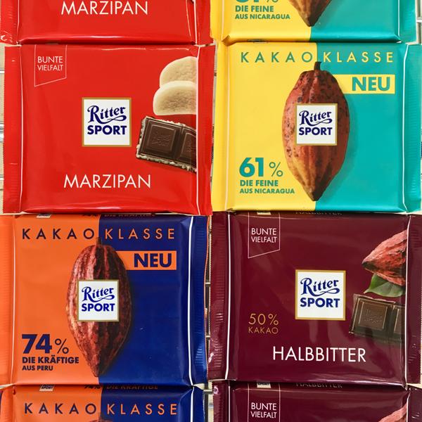 Ritter Sport in 4 Sorten: Marzipan,Kakaoklasse 61 % Die Feine,Kakaoklasse 74 % Die Kräftige und Halbbitter