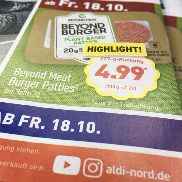 Beyond Meat Burger bei Aldi Nord