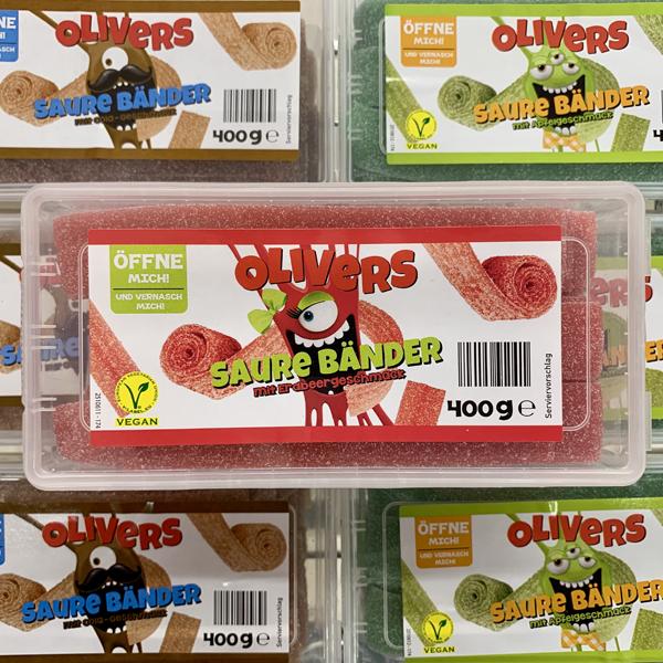 Olivers Saure Bänder Cola, Erdbeere & Apfel Vegan
