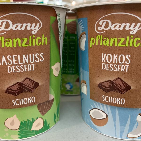 Dany pflanzlich Haselnuss Schoko Dessert & Kokos Schoko Dessert